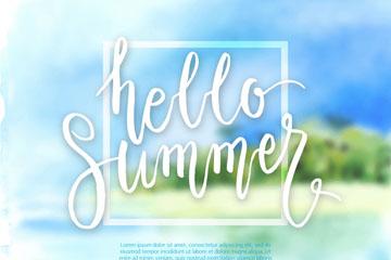 创意水彩绘你好夏季模糊风景矢量