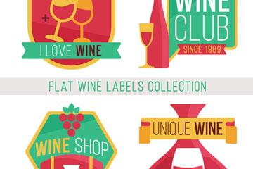 4款扁平化葡萄酒标签矢量素材