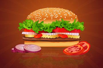 美味快餐汉堡包设计矢量素材