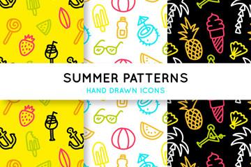 3款彩色手绘夏季元素无缝背景矢量图