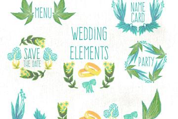 12款彩绘婚礼元素矢量素材