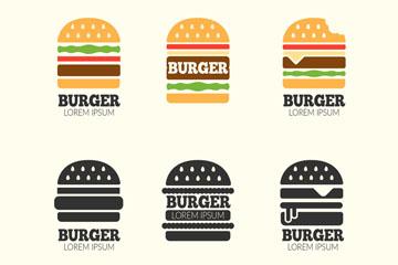 6款创意汉堡包标志矢量图