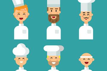 6款扁平化笑脸厨师头像矢量图