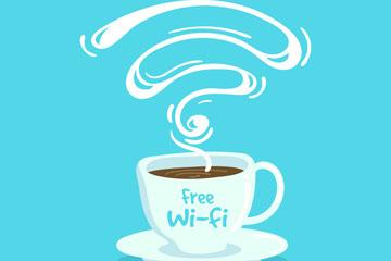 创意热咖啡和免费无线网矢量素材