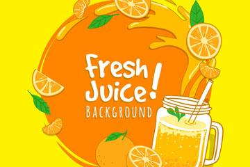 新鲜橙子和橙汁矢量素材
