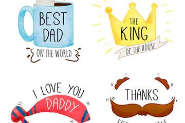 4款彩绘父亲节标签矢量素材