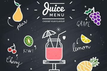创意水果汁黑板酒水单矢量图