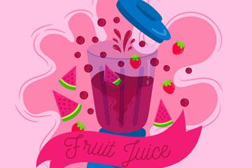 彩绘榨水果汁的榨汁机矢量图