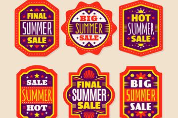 6款创意夏季折扣标签矢量素材