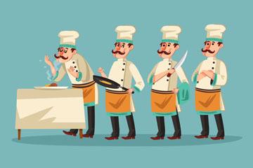 4款创意厨师动作矢量素材