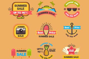 9款创意夏日假期促销标签矢量图