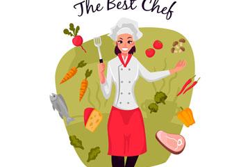 创意女厨师和蔬菜食材矢量素材