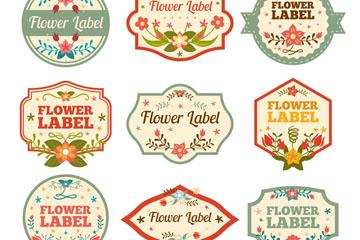 9款创意花卉标签矢量素材