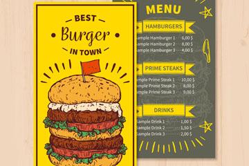 彩绘汉堡包菜单设计矢量素材