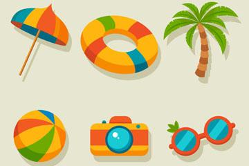 6款彩色扁平化夏季元素乐虎国际线上娱乐图