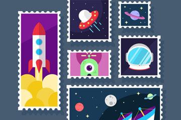 6款创意太空元素邮票乐虎国际线上娱乐图