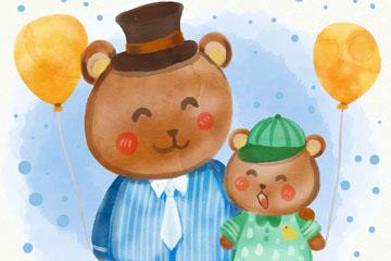 水彩绘父亲节父子熊矢量素材