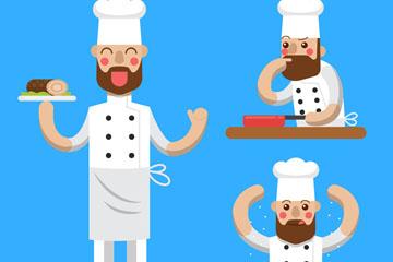 3款创意厨师动作矢量素材