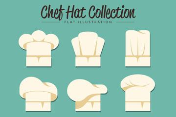 9款白色扁平化厨师帽矢量图