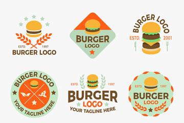 6款彩色汉堡包标志矢量素材