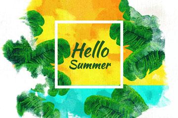 你好夏季棕榈树和大海风景矢量图