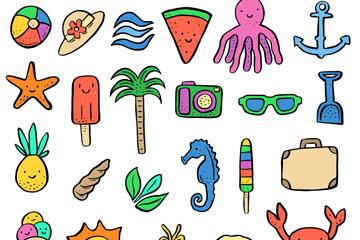 27款彩色夏季度假元素矢量素材