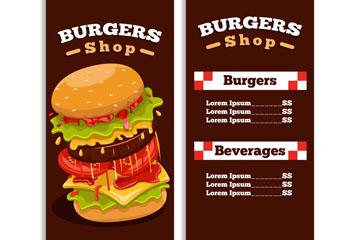 彩色汉堡包菜单设计矢量素材