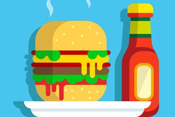 美味热汉堡包和番茄酱矢量图