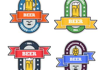4款彩色啤酒标签矢量素材