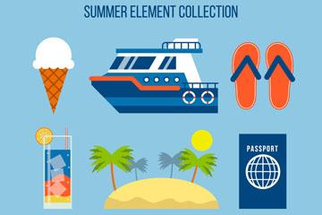 9款彩色扁平化夏季度假元素矢量
