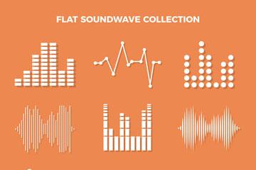 9款创意白色声波设计矢量素材