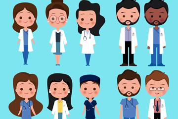 10款卡通医务人员设计矢量素材