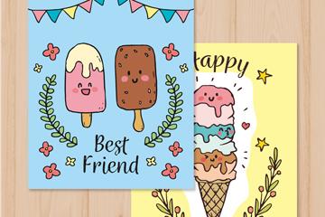 2款彩绘可爱雪糕卡片乐虎国际线上娱乐乐虎国际