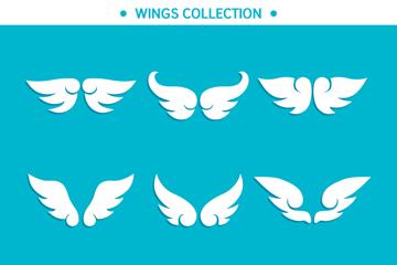 9对白色翅膀设计矢量素材