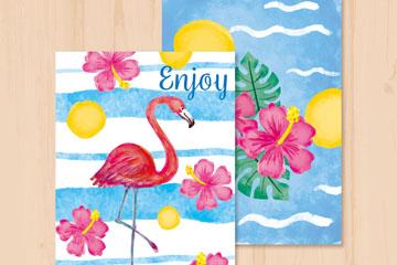 2款彩绘火烈鸟和扶桑花卡片矢量