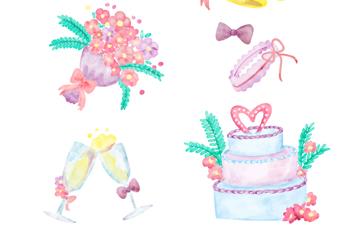 6款水彩绘婚礼元素设计矢量素材