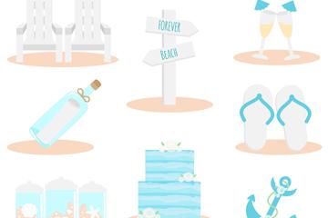 8款创意沙滩婚礼元素矢量素材