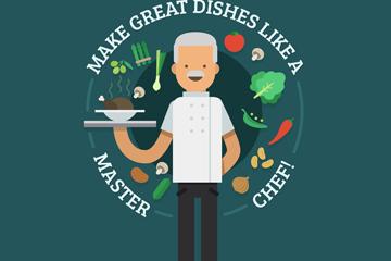 卡通端菜肴的白发厨师矢量图
