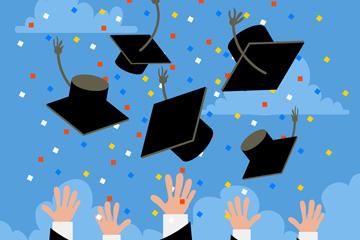 卡通扔博士帽的毕业人群手臂矢量图
