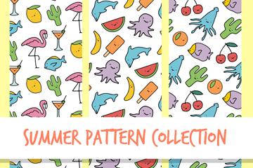 3款彩绘夏季无缝背景矢量素材