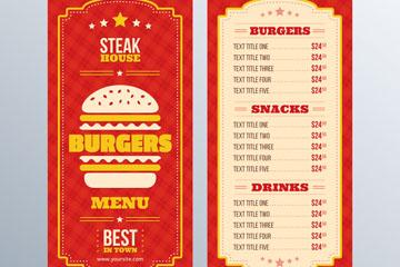 红色汉堡包店菜单矢量齐乐娱乐