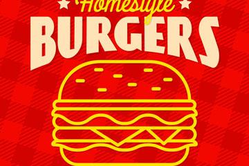 红色汉堡包促销海报矢量素材