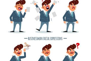 6款彩绘商务男子表情矢量素材