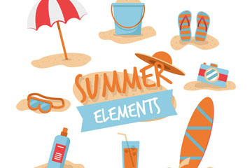8款创意夏季沙滩度假元素矢量图
