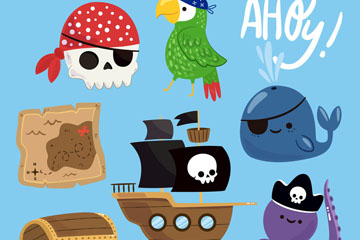 7款卡通海盗元素矢量素材