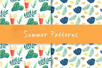 2款彩绘夏季元素无缝背景乐虎国际线上娱乐图
