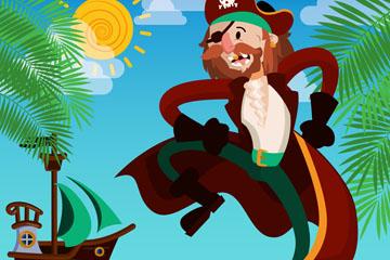 卡通岛屿上的海盗矢量素材