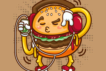 卡通听音乐的汉堡包矢量素材