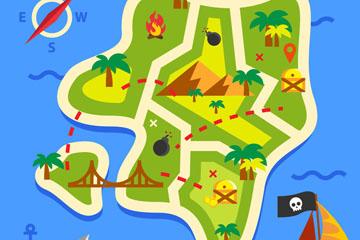 创意绿色藏宝地图矢量素材