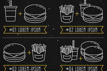 创意汉堡包黑板菜单矢量素材